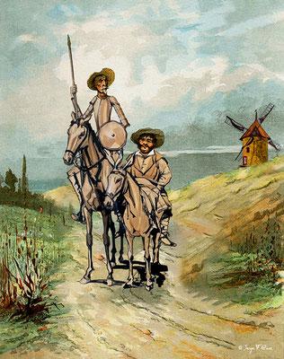 Don Quichotte et Sancho Pança - Photo façon tableau peinture Serge Faure