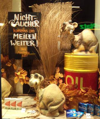witzige Nichtraucher - Dekoration mit Kamelen