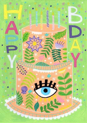 HAPPY BDAY, gouache sobre papel, 21 x 29,7 cm. Teruel, 2020.