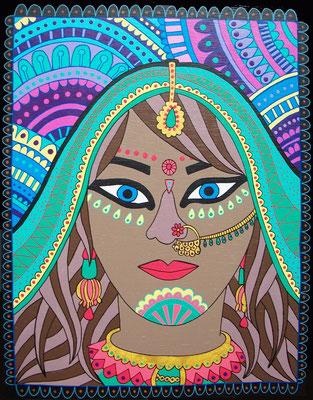 INDIAN WOMAN, Acrílico sobre tabla, 27 x 35 cm, Teruel 2015