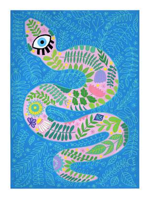 SERPIENTE, gouache sobre papel, 24 x 32 cm. Teruel, 2020.