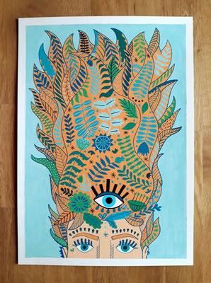 MELENUDA, gouache sobre papel, 30 x 42 cm. Teruel, 2020.