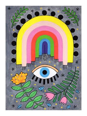 ARCO IRIS, gouache sobre papel, 24 x 32 cm. Teruel, 2020.