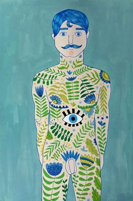 HOMBRE, gouache sobre papel, 30 x 42 cm. Teruel, 2020.