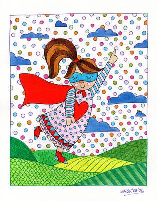 SUPER HEROE, Acuarela sobre papel, 21 x 30 cm, Teruel 2015