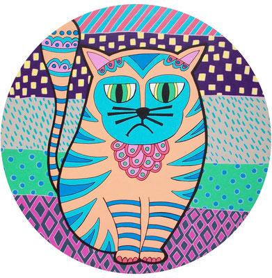 BAD CAT, Acrílico sobre lienzo, d 40 cm, Teruel 2015