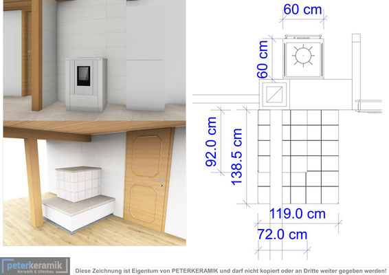 Kachelofen 3D Planung von peterkeramik GmbH Kanton Bern