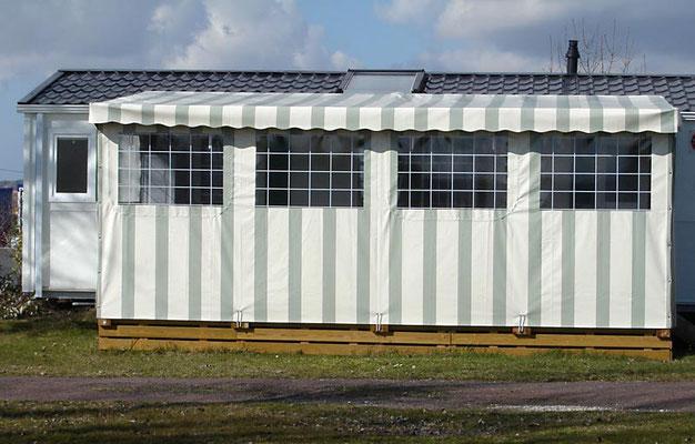 Bâche pour terrasse de mobil home couverte, en toile PVC pré contraint