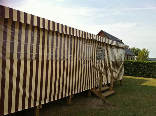 Toile de façade et toile de toit pour la terrasse de votre mobil home