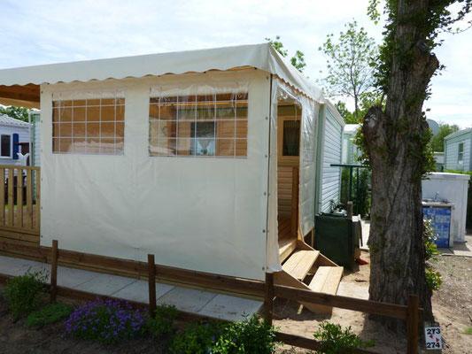 Toile pour terrasse de mobil home avec porte vitrée