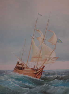 """In den Wellen"" Ölbild 70x50cm"
