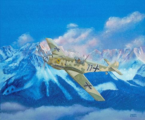 Messerschmitt Bf109E über dem Wilden Kaiser (Tirol, Austria) Acryl 60x50cm