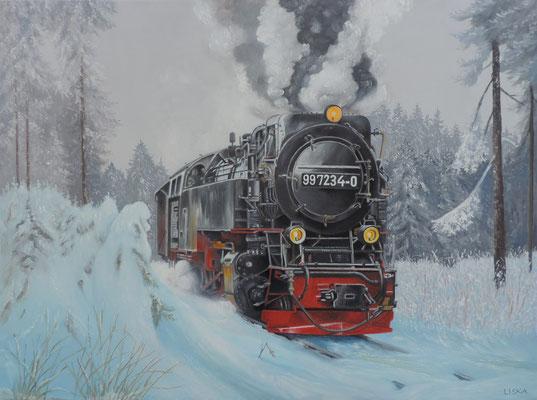 """""""Dampfross"""" Ölbild 80x60cm"""