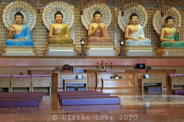 Fo Guang Shan Nan Tien Tempel: die fünf Dhyani-Buddhas, Amogasiddhi, Ratnasambhava, Vairocana, Amitabha und Akshobhya
