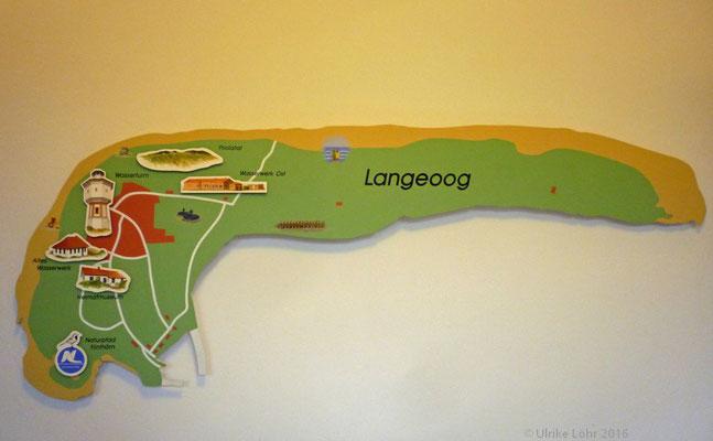 Karte von Langeoog im Wasserwerk Infohaus