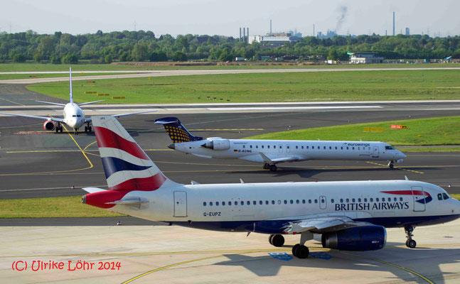 G-EUPZ British Airways Airbus A319-131 und D-ACNG Eurowings Canadair CL-600-2D24 Regional Jet CRJ-900LR