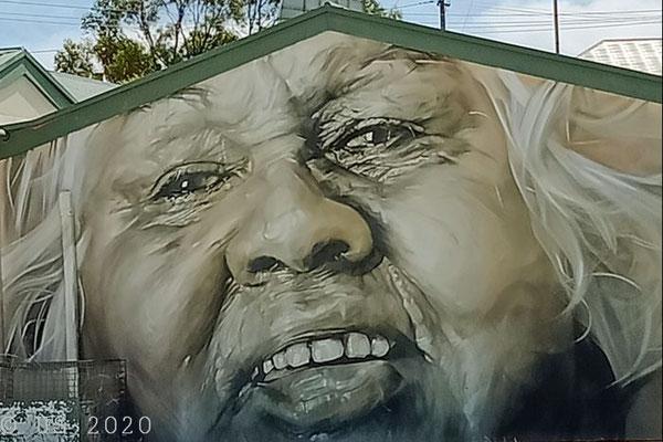Mural von Guido van Helten mit dem Ngarrindjeri-Künstler Damien Shen