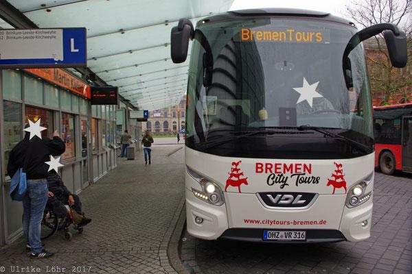 Der Bus für die Stadtrundfahrt durch Bremen