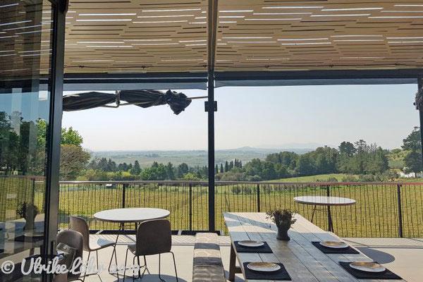 Terrasse mit traumhaftem Blick über die endlosen Rebstöcke