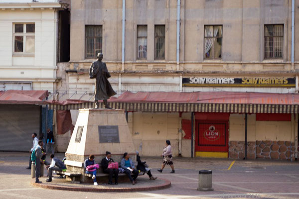Mahatma Gandhi, Menschenrechts- und Unabhängigkeitskämpfer, lebte von 1893 bis 1914 in Johannesburg