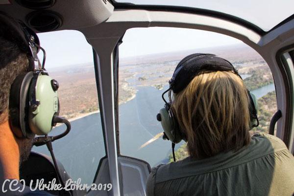 Blick aus dem Helikopter über den Mosi Oa Tunya Nationalpark
