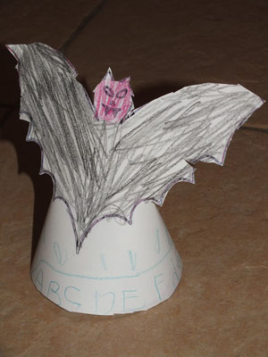 chauve souris pour Halloween, en cone papier cartonné, avec demi cercle vers le bas, découper et agrafer les 2 pointes du demi cercle vers l'arrière pour former un cône