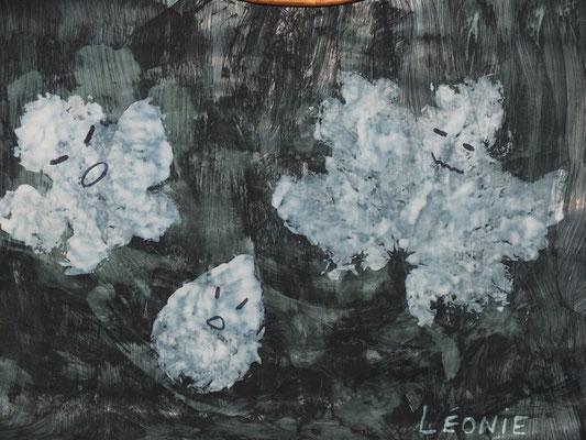 dessin d'Halloween : petits fantomes : peindre une grande feuille en noir, mettre de la peinture blanche sur des feuilles sèches d'arbre puis retourner et bien appuyer sur la feuille noire, enlever délicatement, faire sécher et mettre yeux et bouche
