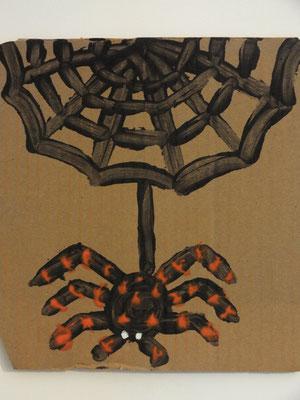 araignée d'Halloween à la peinture aux doigts