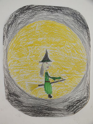 dessin pour Halloween : sorcière sur son balai devant la pleine lune