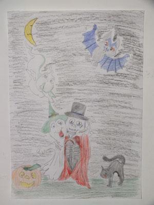 dessin d'Halloween au crayon de couleur