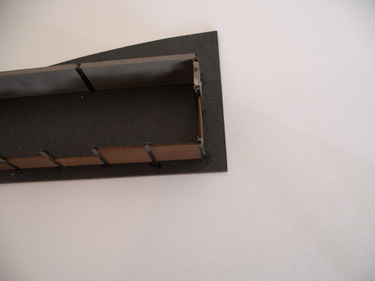 Hier ist der vorbildliche Aufbau der Profile mit Betonelementen und Brettern zu sehen.
