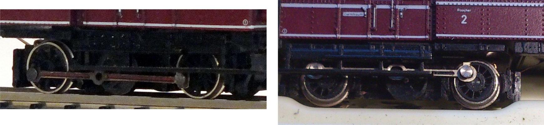 Kuppelstangen: der Vergleich zwischen Großserie rechts und fiNescale links.