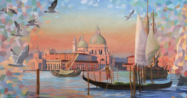 """Moderne Wandmalerei für das Kreuzfahrtschiff """"Aida Prima"""". Die Basilica di Santa Maria della Salute im rötlichen Licht des Sonnenaufgangs."""
