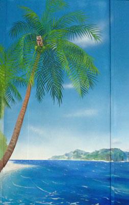 Auch ein Südsee-Strand ist ein schönes Motiv für eine Wandmalerei im Badezimmer.