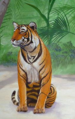 Wandmalerei mit sitzenden Königstiger am Rande des Dschungels