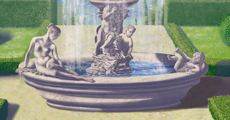 Bildausschnitt der Skulpturenbrunnens.