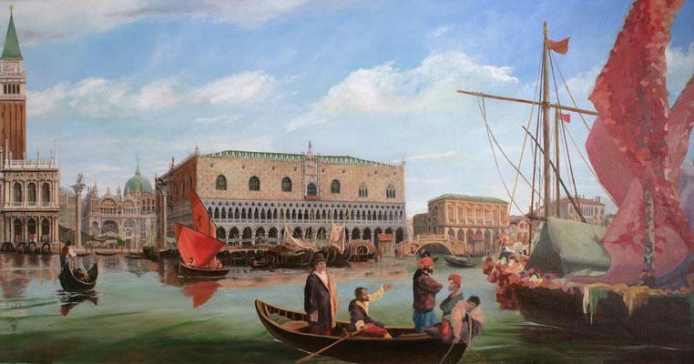 Gemälde Venedig auf der Aida Prima. Ausschnitt. St.Markus Platz und dem Dogenpalast mit Schiffen und Gondeln. Im Vordergrund Matrosen und Handeltreibende.
