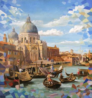 Die Basilica di Santa Maria della Salute; Kirchgang und geschäftiges Treiben in Venedig
