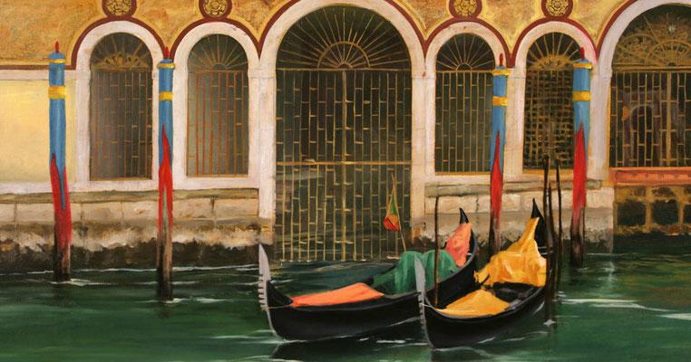 """Detailansicht des Palazzo Borgheria aus dem Bilderzyklus """"Venezianische Impressionen""""."""
