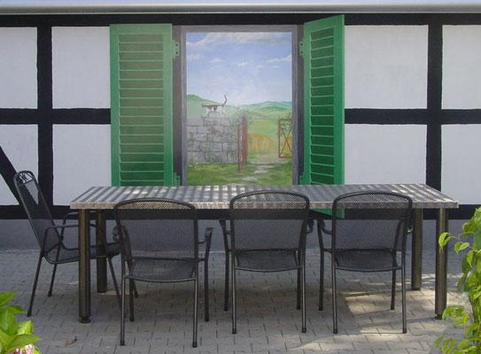 Trompe-l'œil-Malerei eines imaginären Fensters.
