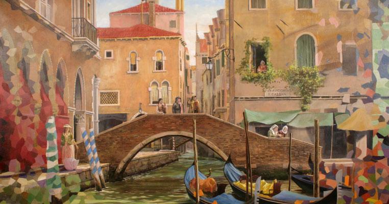 Eine Alltagsszene im Venedig des 18. Jahrhunderts; warten auf eine Gondelfahrt