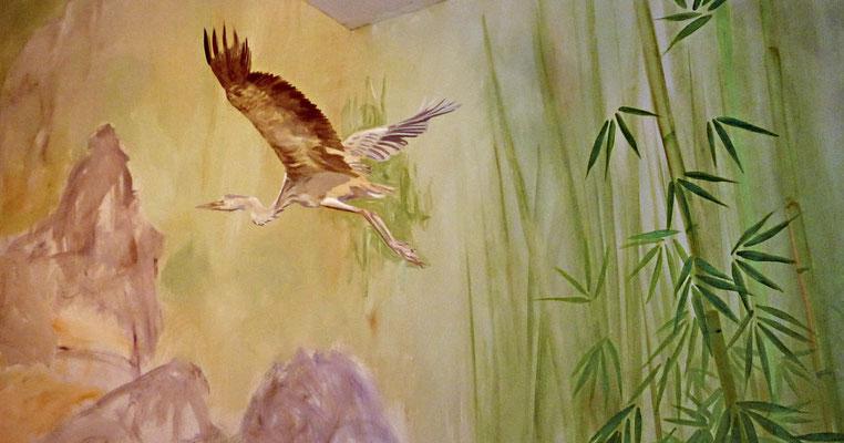 Detail der Wandmalerei Bambuswald mit Kranich (Arbeitssituation).