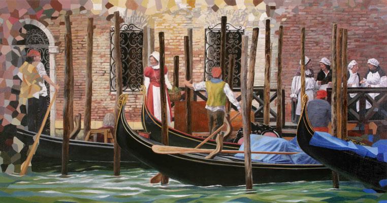 Malerei auf Leinwand  mit einer typischen Szene des täglichen Lebens im alten Venedig.