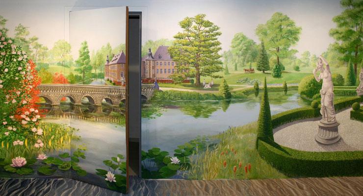Türen, Decken und Rollos wurden in die Wandmalerei von »Schloss Dyck« mit einbezogen.