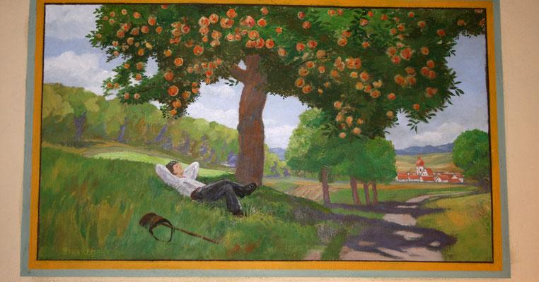 Das fertig restaurierte Wandgemälde erstrahlt wieder in den leuchtenden Farben eines sommerlichen Tages.