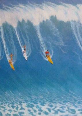 Bemalung eines Verdunkelungsrollos mit Surfern auf eure großen Welle