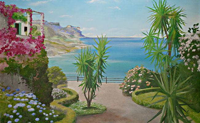 Mediterrane Wandmalerei auf einer Terrassenwand. Die Malerei wurde mit einem flotten Pinselstrich und nicht sehr detailliert gemalt da das Budget begrenzt war.