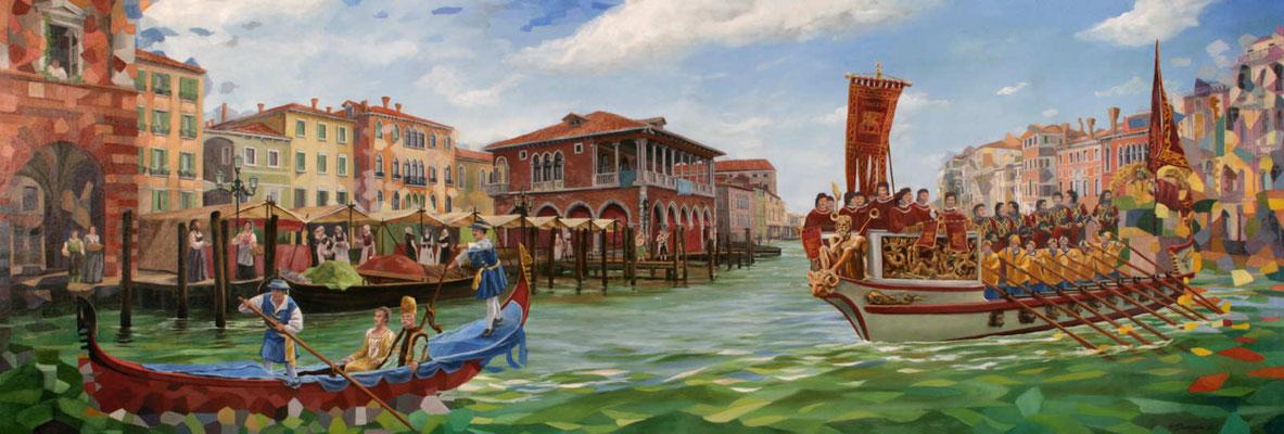"""Gemälde der """"Regata Storica""""(historische Regatta aus dem 16. Jahrhundert) eine farbenfrohe Schiffsparade auf dem Carmel Grande. Im Hintergrund die traditionelle Fischhalle."""