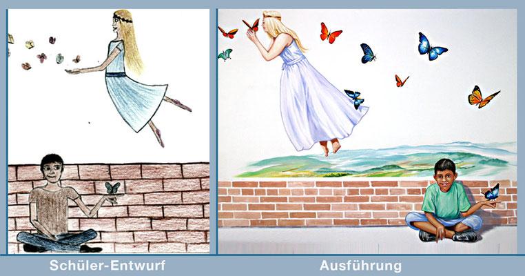 Schüler-Entwurf und Ausführung der Fee mit den Schmetterlingen.