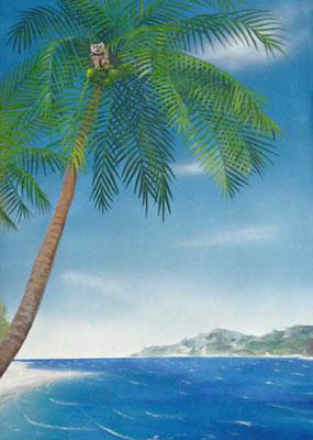 Malerei auf einem Rollo mit Südseemotiven:  Affe, Palmen und Meer